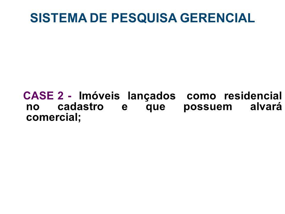SISTEMA DE PESQUISA GERENCIAL CASE 2 - Imóveis lançados como residencial no cadastro e que possuem alvará comercial;