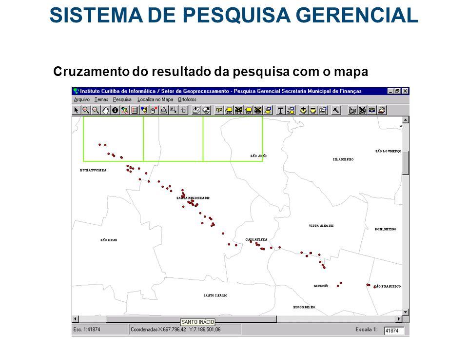 SISTEMA DE PESQUISA GERENCIAL Cruzamento do resultado da pesquisa com o mapa