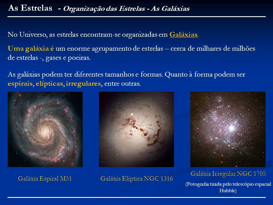 No Universo, as estrelas encontram-se organizadas em Galáxias.