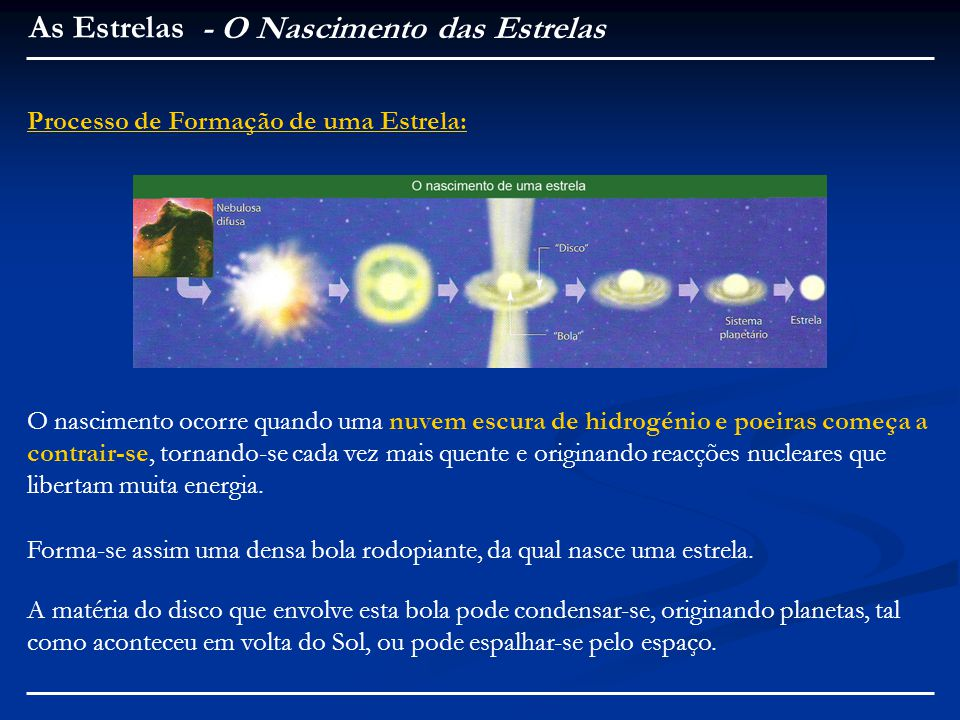 O nascimento ocorre quando uma nuvem escura de hidrogénio e poeiras começa a contrair-se, tornando-se cada vez mais quente e originando reacções nucleares que libertam muita energia.