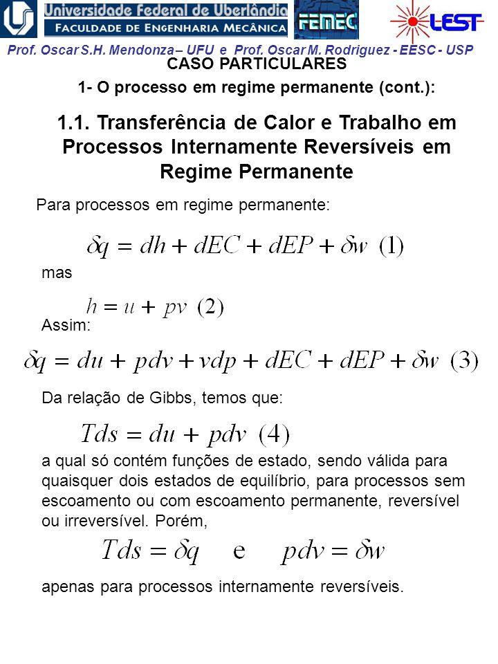 Prof. Oscar S.H. Mendonza – UFU e Prof. Oscar M. Rodriguez - EESC - USP CASO PARTICULARES 1- O processo em regime permanente (cont.): 1.1. Transferênc
