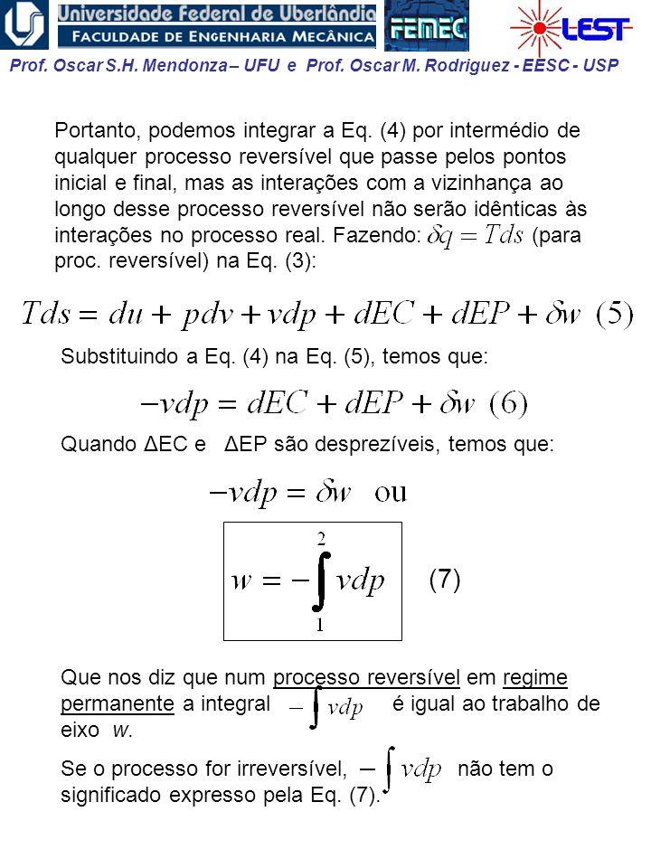 Prof. Oscar S.H. Mendonza – UFU e Prof. Oscar M. Rodriguez - EESC - USP Portanto, podemos integrar a Eq. (4) por intermédio de qualquer processo rever