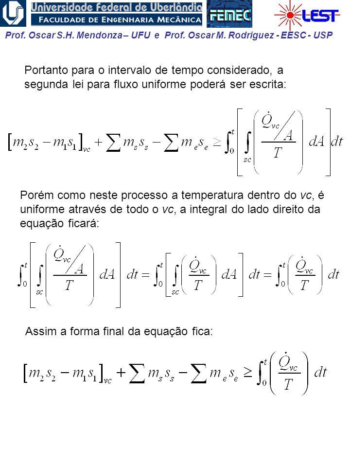 Prof. Oscar S.H. Mendonza – UFU e Prof. Oscar M. Rodriguez - EESC - USP Portanto para o intervalo de tempo considerado, a segunda lei para fluxo unifo