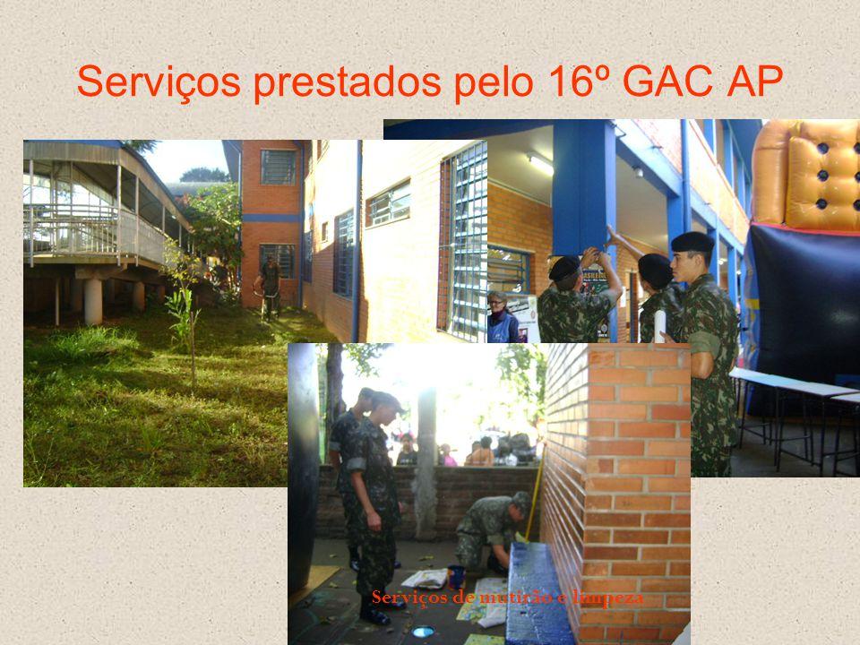 Serviços prestados pelo 16º GAC AP Serviços de mutirão e limpeza