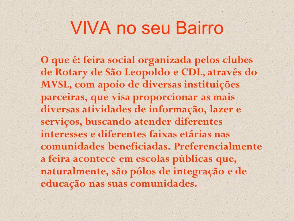VIVA no seu Bairro O que é: feira social organizada pelos clubes de Rotary de São Leopoldo e CDL, através do MVSL, com apoio de diversas instituições