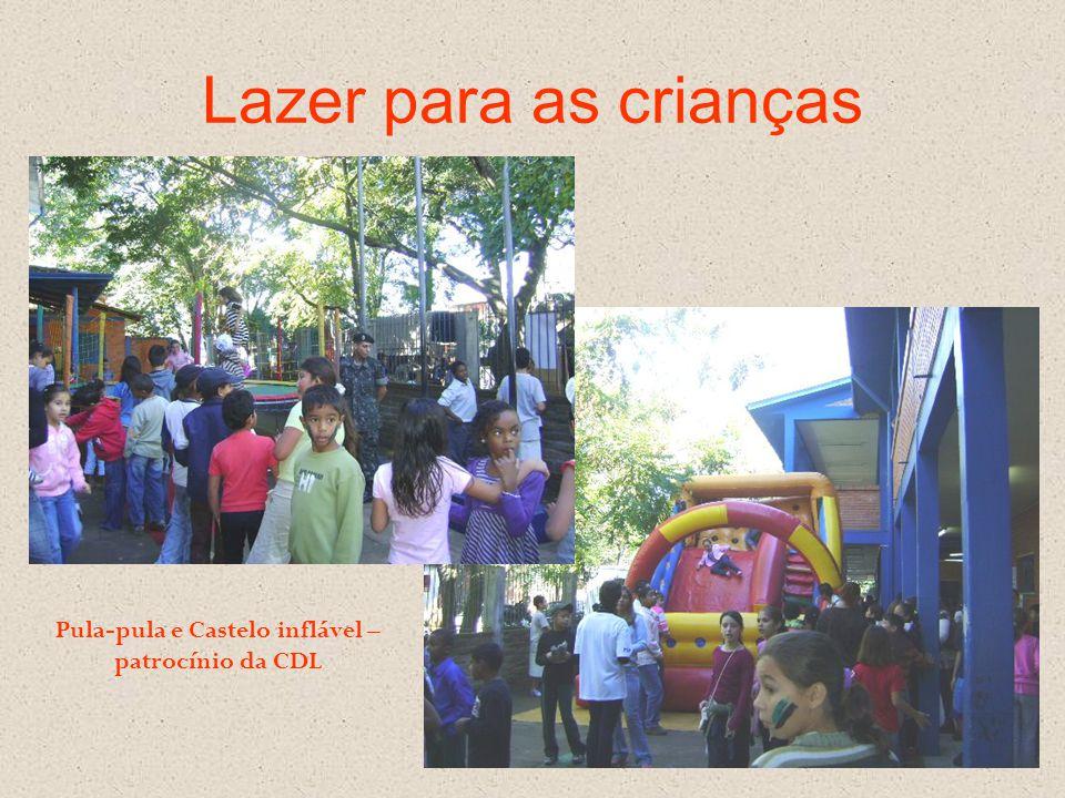Lazer para as crianças Pula-pula e Castelo inflável – patrocínio da CDL
