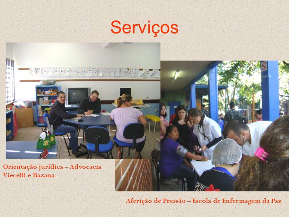 Serviços Orientação jurídica – Advocacia Viecelli e Bazana Aferição de Pressão – Escola de Enfermagem da Paz