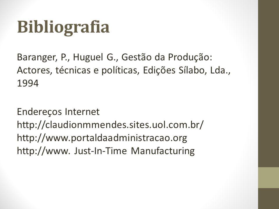 Bibliografia Baranger, P., Huguel G., Gestão da Produção: Actores, técnicas e políticas, Edições Sílabo, Lda., 1994 Endereços Internet http://claudion