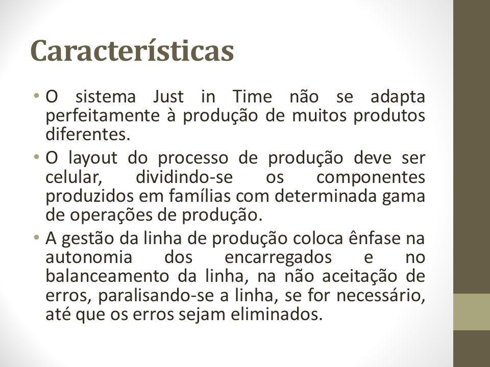 Características O sistema Just in Time não se adapta perfeitamente à produção de muitos produtos diferentes. O layout do processo de produção deve ser