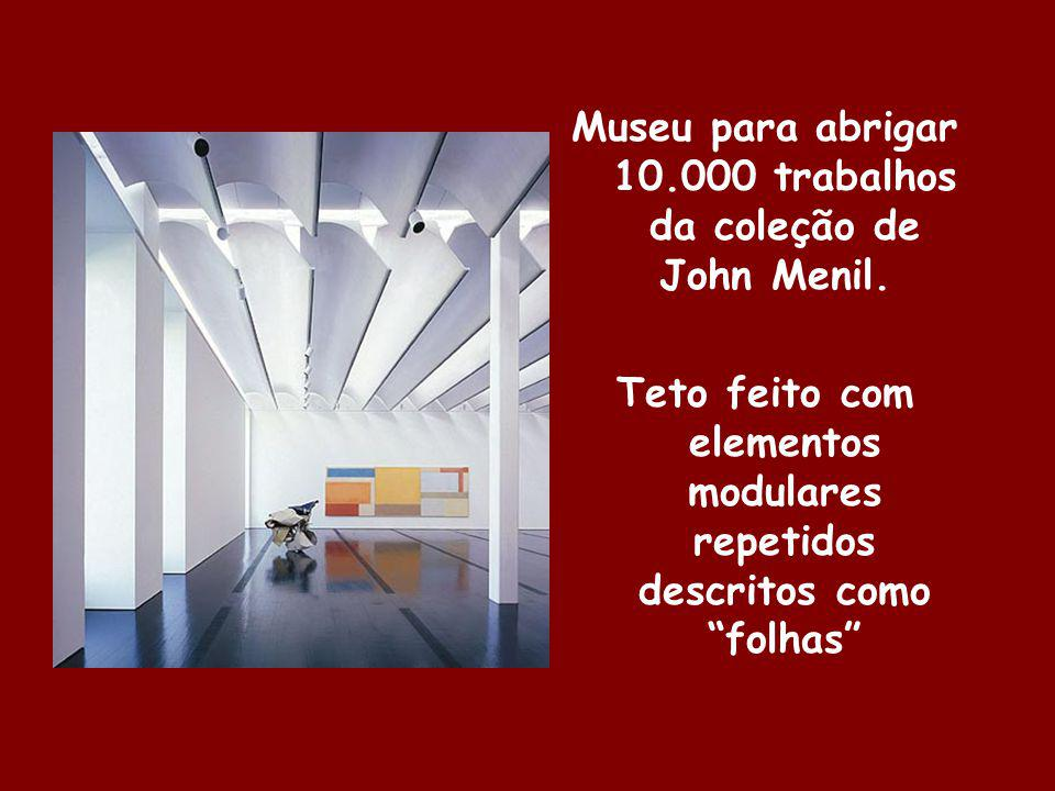Museu para abrigar 10.000 trabalhos da coleção de John Menil. Teto feito com elementos modulares repetidos descritos como folhas