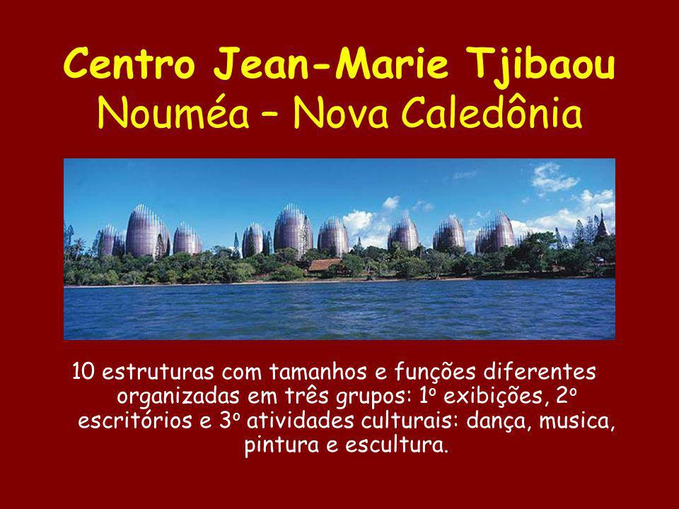 Centro Jean-Marie Tjibaou Nouméa – Nova Caledônia 10 estruturas com tamanhos e funções diferentes organizadas em três grupos: 1 o exibições, 2 o escri