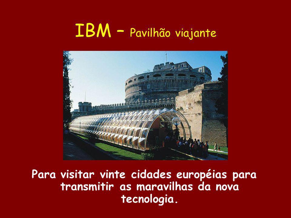 IBM – Pavilhão viajante Para visitar vinte cidades européias para transmitir as maravilhas da nova tecnologia.