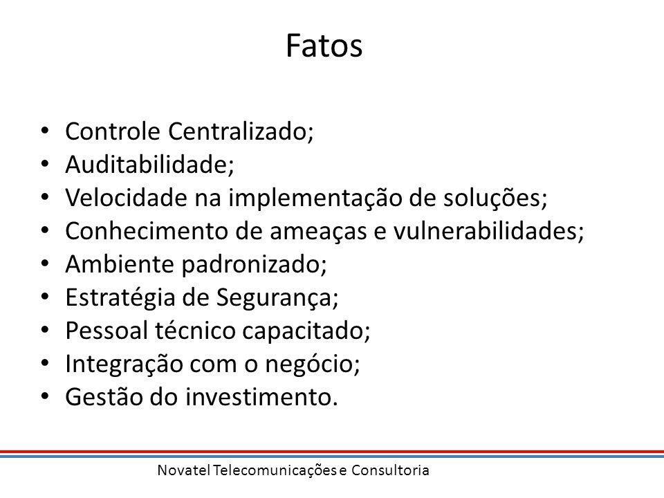 Fatos Controle Centralizado; Auditabilidade; Velocidade na implementação de soluções; Conhecimento de ameaças e vulnerabilidades; Ambiente padronizado
