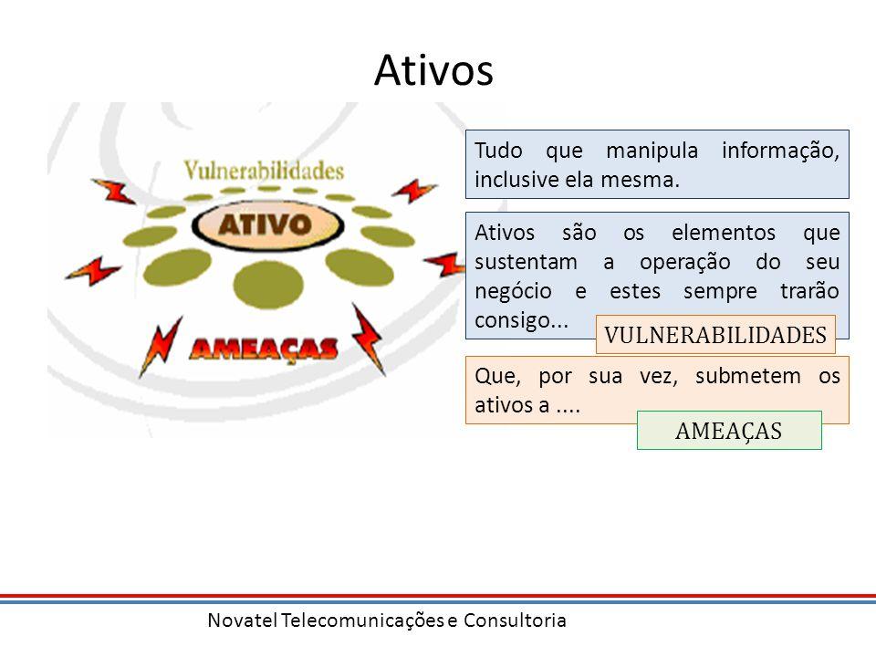 Novatel Telecomunicações e Consultoria Ativos Tudo que manipula informação, inclusive ela mesma. Ativos são os elementos que sustentam a operação do s