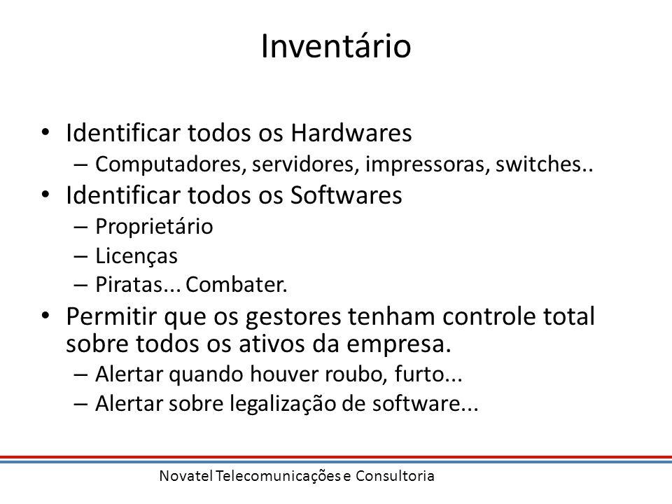 Novatel Telecomunicações e Consultoria Inventário Identificar todos os Hardwares – Computadores, servidores, impressoras, switches.. Identificar todos