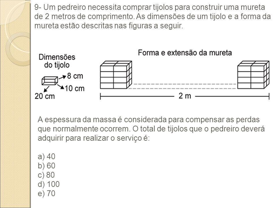 9- Um pedreiro necessita comprar tijolos para construir uma mureta de 2 metros de comprimento. As dimensões de um tijolo e a forma da mureta estão des