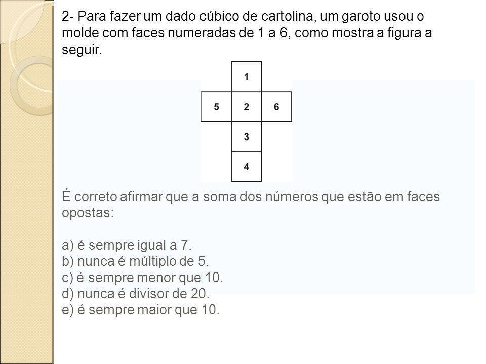 2- Para fazer um dado cúbico de cartolina, um garoto usou o molde com faces numeradas de 1 a 6, como mostra a figura a seguir. É correto afirmar que a