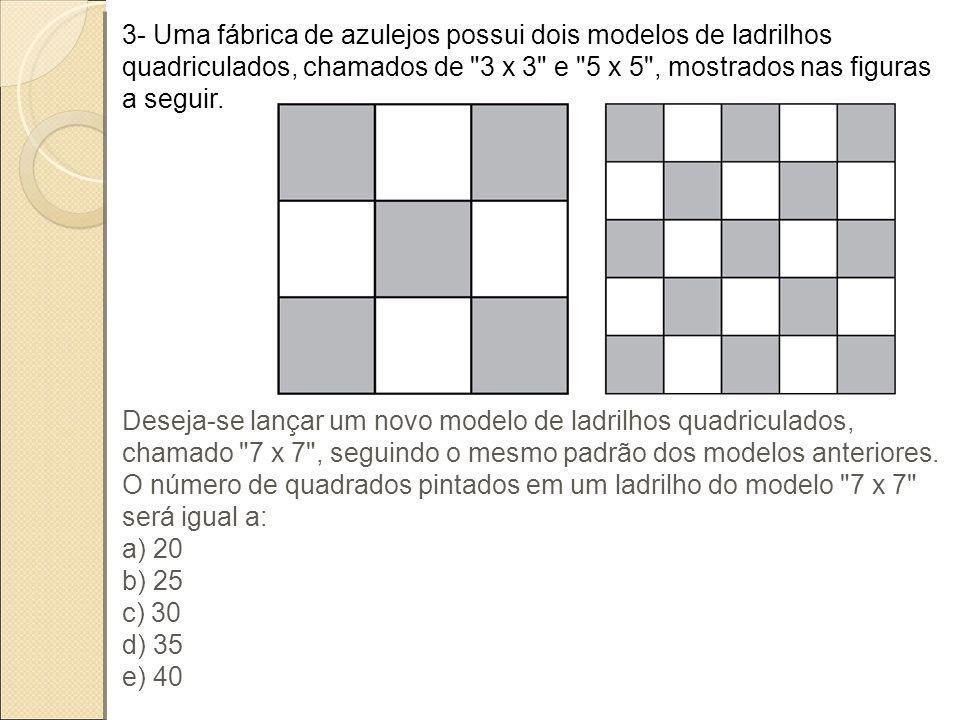 3- Uma fábrica de azulejos possui dois modelos de ladrilhos quadriculados, chamados de