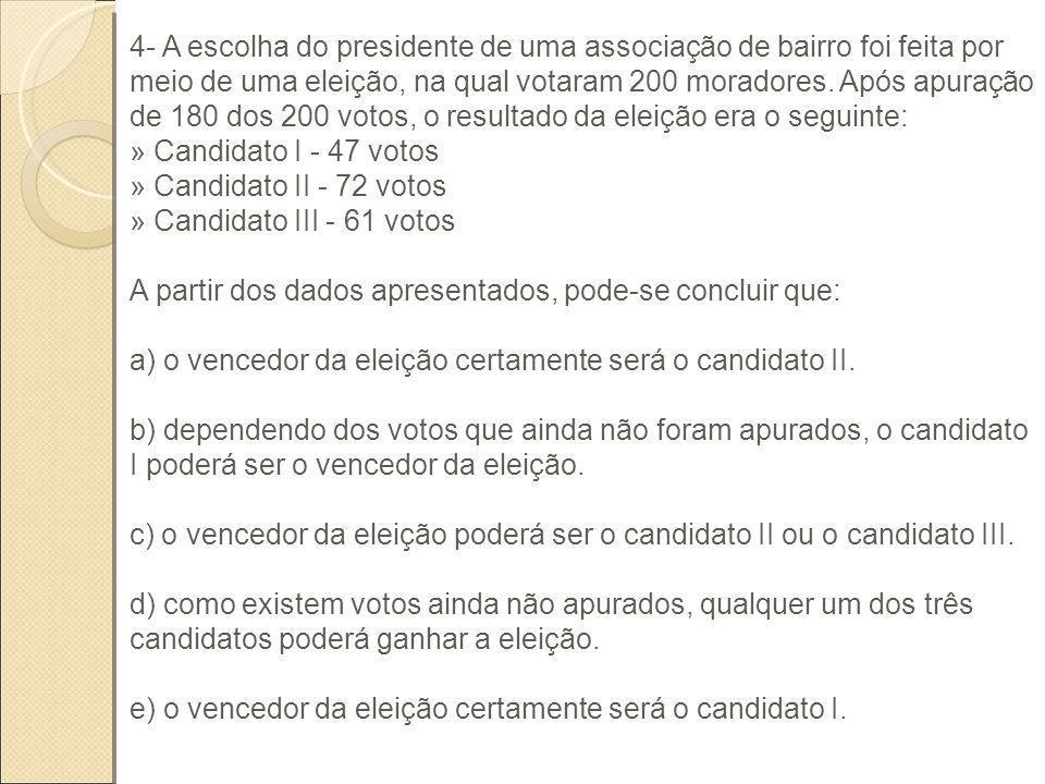 4- A escolha do presidente de uma associação de bairro foi feita por meio de uma eleição, na qual votaram 200 moradores. Após apuração de 180 dos 200