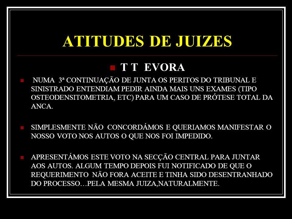 ATITUDES DE JUIZES T T EVORA NUMA 3ª CONTINUAÇÃO DE JUNTA OS PERITOS DO TRIBUNAL E SINISTRADO ENTENDIAM PEDIR AINDA MAIS UNS EXAMES (TIPO OSTEODENSITOMETRIA, ETC) PARA UM CASO DE PRÓTESE TOTAL DA ANCA.