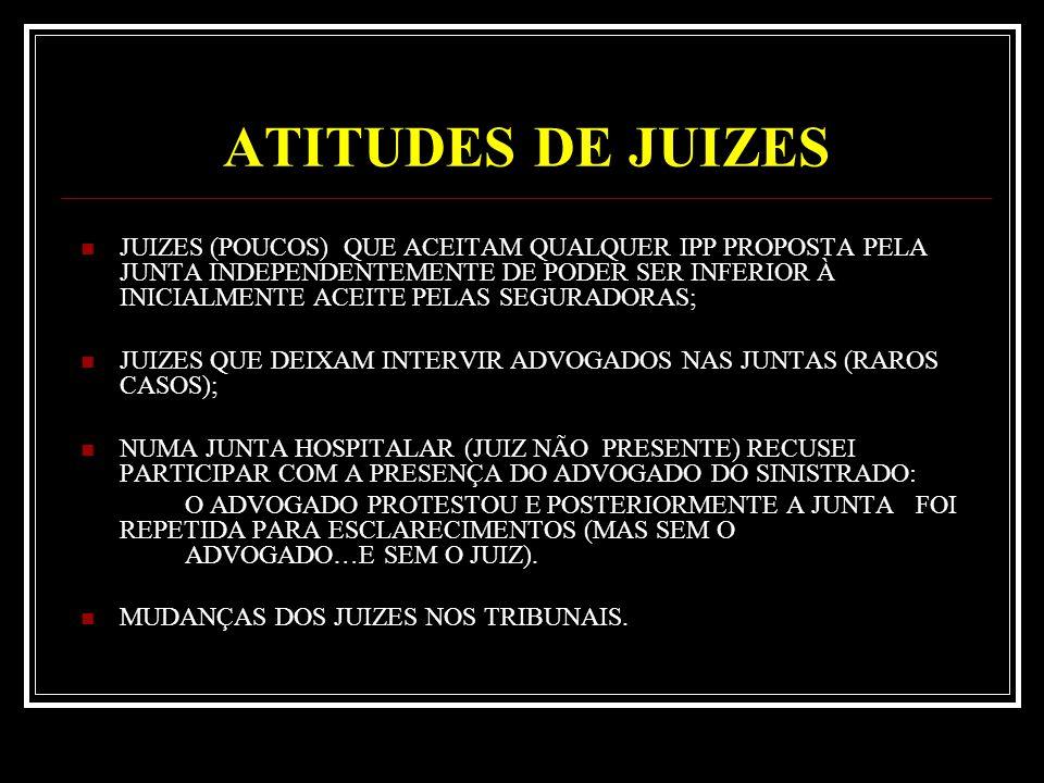 ATITUDES DE JUIZES JUIZES (POUCOS) QUE ACEITAM QUALQUER IPP PROPOSTA PELA JUNTA INDEPENDENTEMENTE DE PODER SER INFERIOR À INICIALMENTE ACEITE PELAS SEGURADORAS; JUIZES QUE DEIXAM INTERVIR ADVOGADOS NAS JUNTAS (RAROS CASOS); NUMA JUNTA HOSPITALAR (JUIZ NÃO PRESENTE) RECUSEI PARTICIPAR COM A PRESENÇA DO ADVOGADO DO SINISTRADO: O ADVOGADO PROTESTOU E POSTERIORMENTE A JUNTA FOI REPETIDA PARA ESCLARECIMENTOS (MAS SEM O ADVOGADO…E SEM O JUIZ).