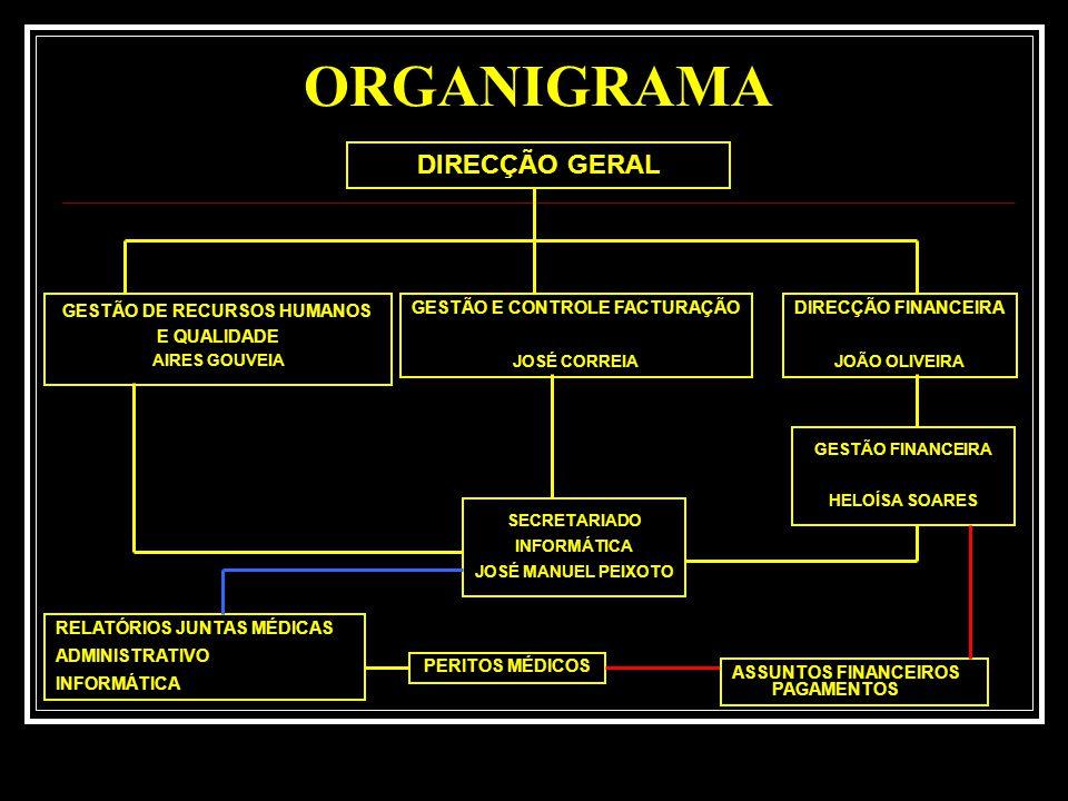 ORGANIGRAMA DIRECÇÃO GERAL DIRECÇÃO FINANCEIRA JOÃO OLIVEIRA GESTÃO DE RECURSOS HUMANOS E QUALIDADE AIRES GOUVEIA GESTÃO E CONTROLE FACTURAÇÃO JOSÉ CORREIA GESTÃO FINANCEIRA HELOÍSA SOARES SECRETARIADO INFORMÁTICA JOSÉ MANUEL PEIXOTO PERITOS MÉDICOS ASSUNTOS FINANCEIROS PAGAMENTOS RELATÓRIOS JUNTAS MÉDICAS ADMINISTRATIVO INFORMÁTICA