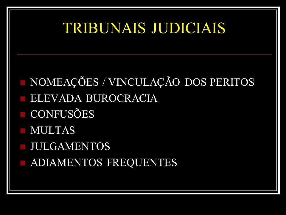 TRIBUNAIS JUDICIAIS NOMEAÇÕES / VINCULAÇÃO DOS PERITOS ELEVADA BUROCRACIA CONFUSÕES MULTAS JULGAMENTOS ADIAMENTOS FREQUENTES