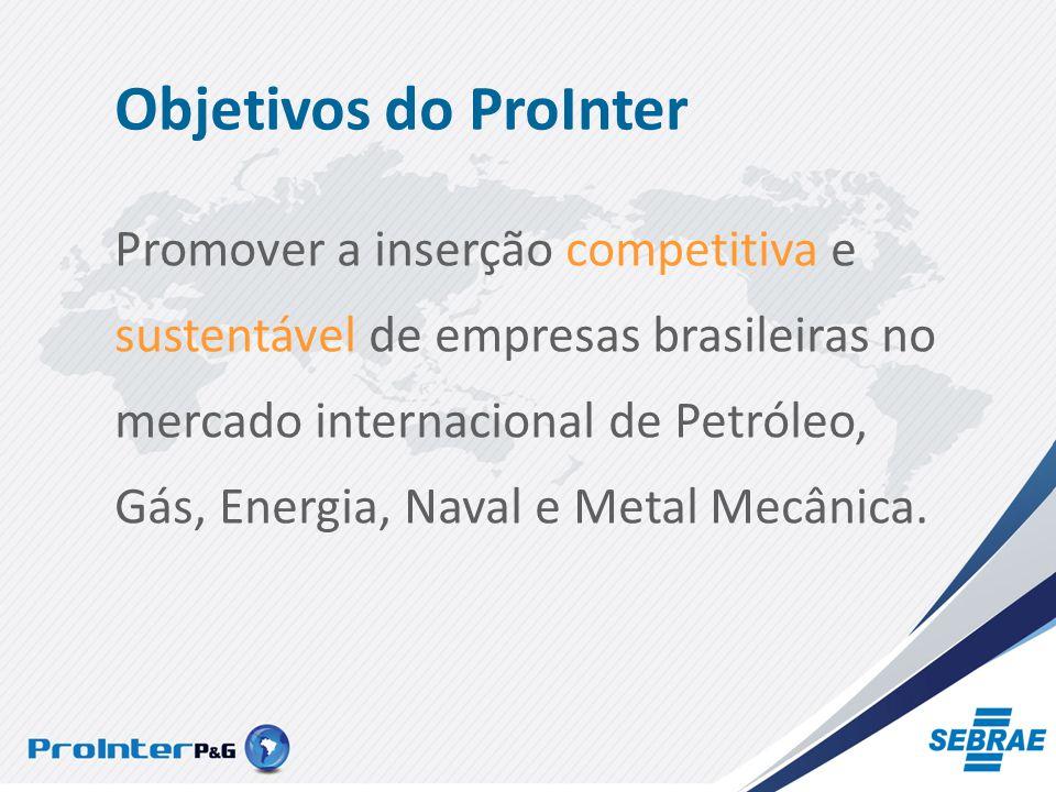 Objetivos do ProInter Promover a inserção competitiva e sustentável de empresas brasileiras no mercado internacional de Petróleo, Gás, Energia, Naval e Metal Mecânica.