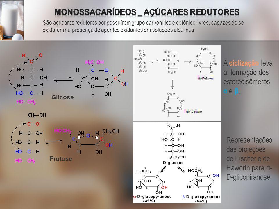 Glicose Frutose A ciclização leva a formação dos estereoisômeros α e β.