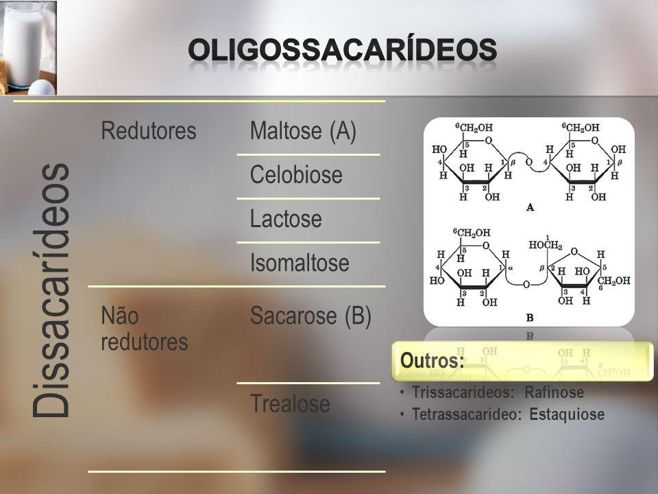Dissacarídeos RedutoresMaltose (A) Celobiose Lactose Isomaltose Não redutores Sacarose (B) Trealose Outros: Trissacarídeos: Rafinose Tetrassacarídeo: Estaquiose