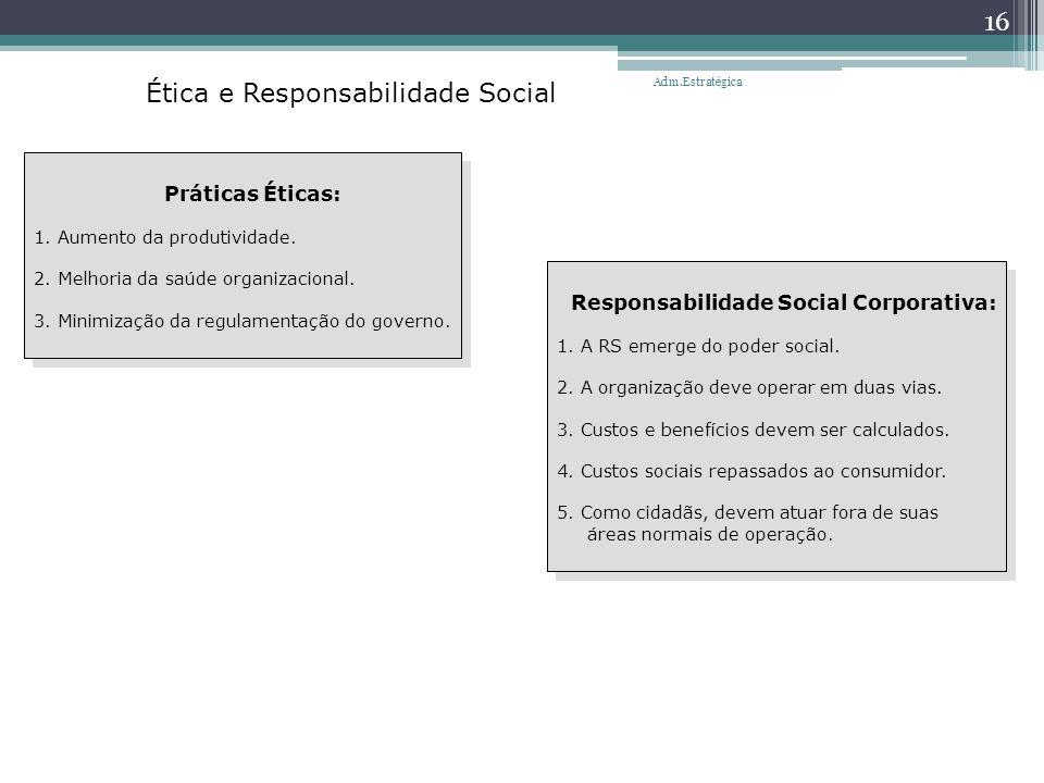 Ética e Responsabilidade Social Práticas Éticas: 1. Aumento da produtividade. 2. Melhoria da saúde organizacional. 3. Minimização da regulamentação do