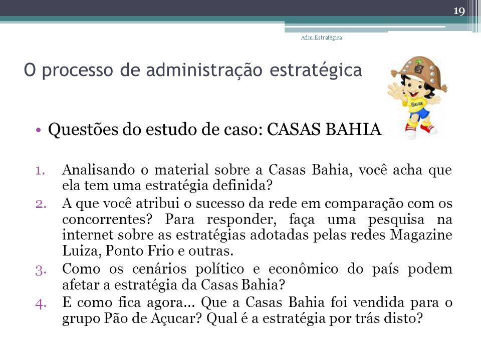 O processo de administração estratégica Questões do estudo de caso: CASAS BAHIA 1.Analisando o material sobre a Casas Bahia, você acha que ela tem uma
