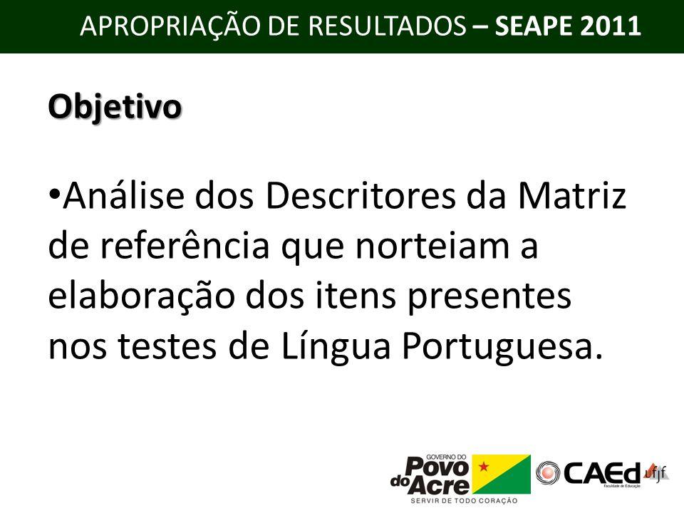 APROPRIAÇÃO DE RESULTADOS – SEAPE 2011 Matriz de Referência de Língua Portuguesa – SEAPE 9º ano do Ensino Fundamental e 3º ano do Ensino Médio I.