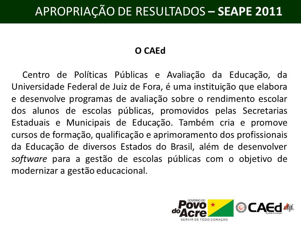 APROPRIAÇÃO DE RESULTADOS – SEAPE 2011 O CAEd Centro de Políticas Públicas e Avaliação da Educação, da Universidade Federal de Juiz de Fora, é uma ins