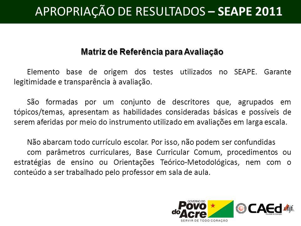 APROPRIAÇÃO DE RESULTADOS – SEAPE 2011 Matriz de Referência para Avaliação Elemento base de origem dos testes utilizados no SEAPE. Garante legitimidad