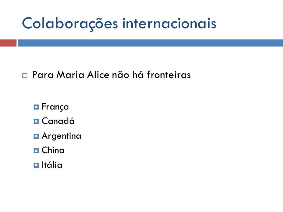 Colaborações internacionais Para Maria Alice não há fronteiras França Canadá Argentina China Itália