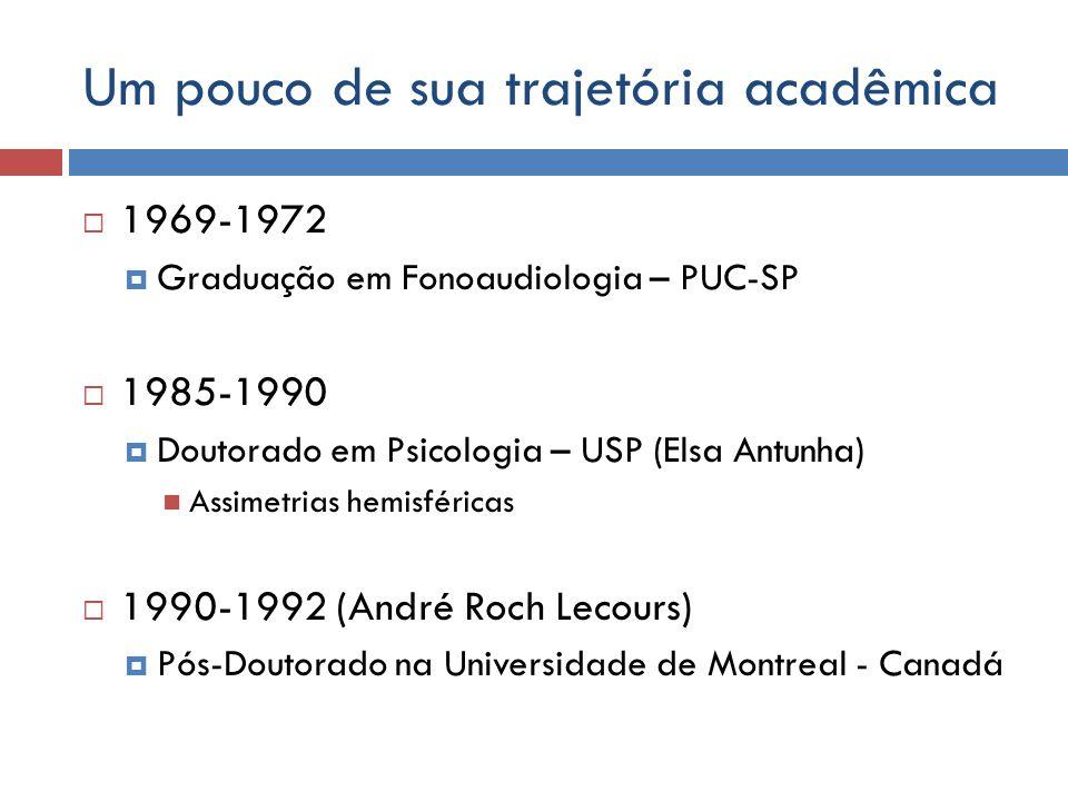 Um pouco de sua trajetória acadêmica 1969-1972 Graduação em Fonoaudiologia – PUC-SP 1985-1990 Doutorado em Psicologia – USP (Elsa Antunha) Assimetrias