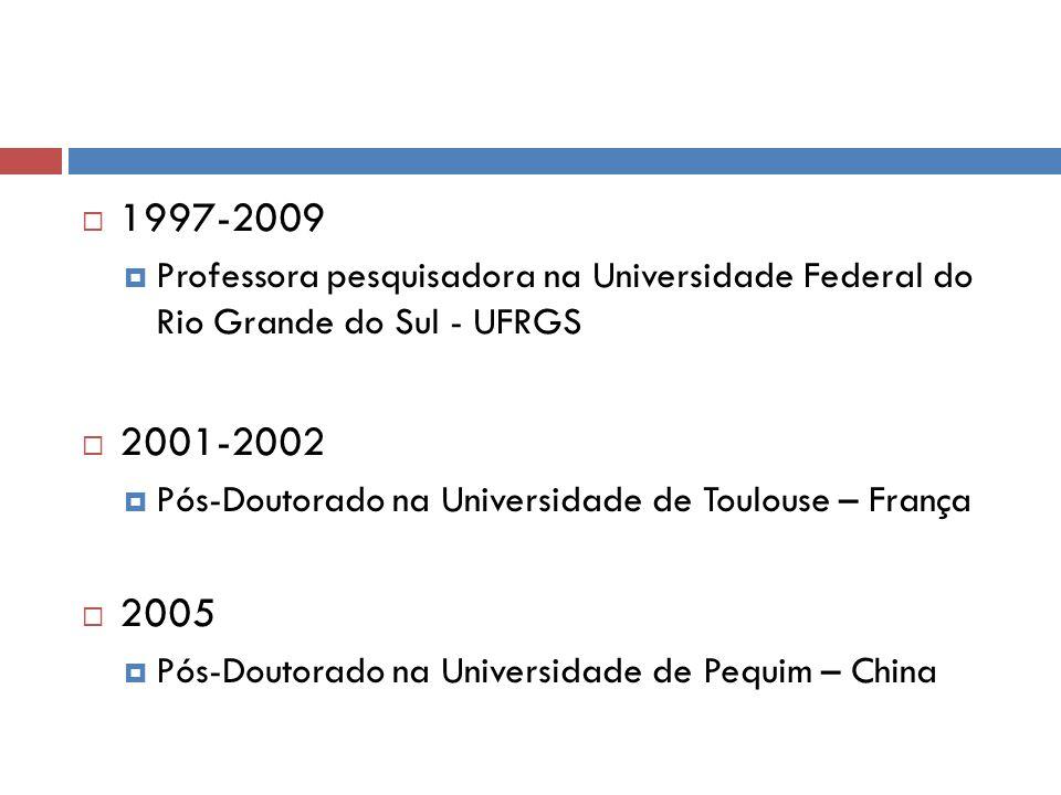 1997-2009 Professora pesquisadora na Universidade Federal do Rio Grande do Sul - UFRGS 2001-2002 Pós-Doutorado na Universidade de Toulouse – França 20