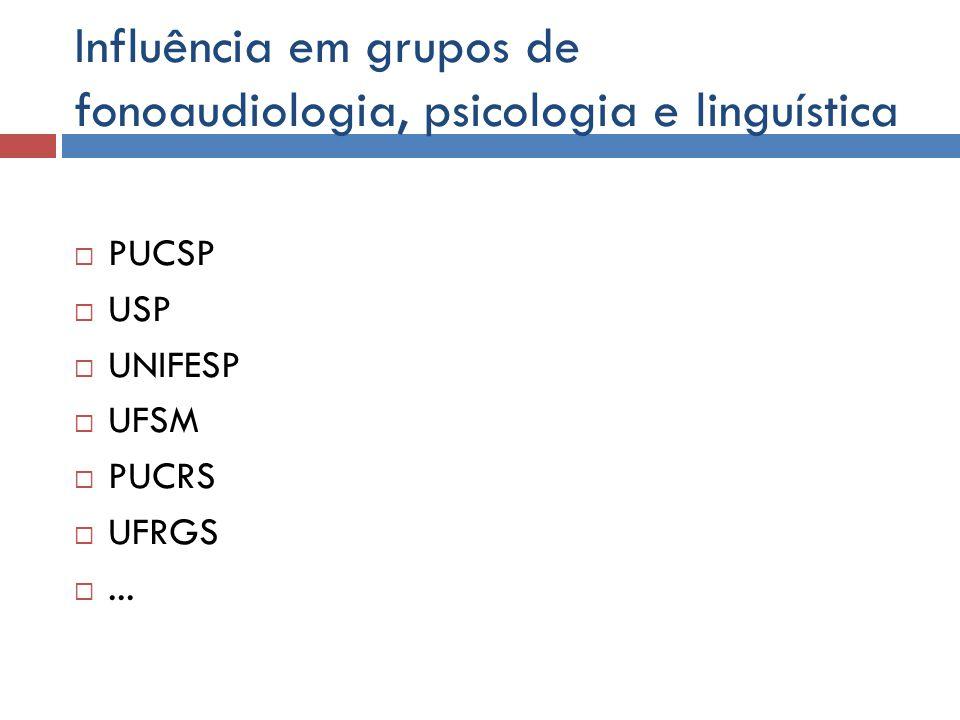Influência em grupos de fonoaudiologia, psicologia e linguística PUCSP USP UNIFESP UFSM PUCRS UFRGS...