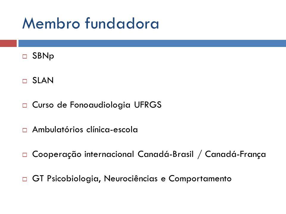 Membro fundadora SBNp SLAN Curso de Fonoaudiologia UFRGS Ambulatórios clínica-escola Cooperação internacional Canadá-Brasil / Canadá-França GT Psicobi