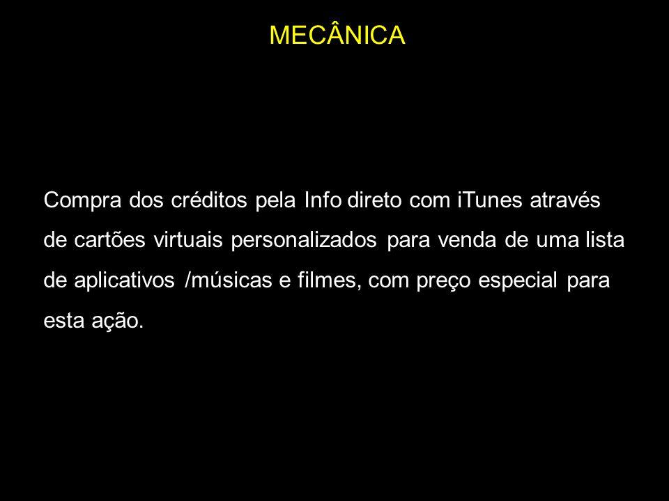 MECÂNICA Compra dos créditos pela Info direto com iTunes através de cartões virtuais personalizados para venda de uma lista de aplicativos /músicas e