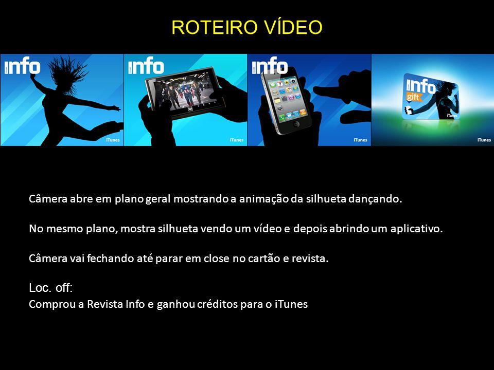 Câmera abre em plano geral mostrando a animação da silhueta dançando. No mesmo plano, mostra silhueta vendo um vídeo e depois abrindo um aplicativo. C