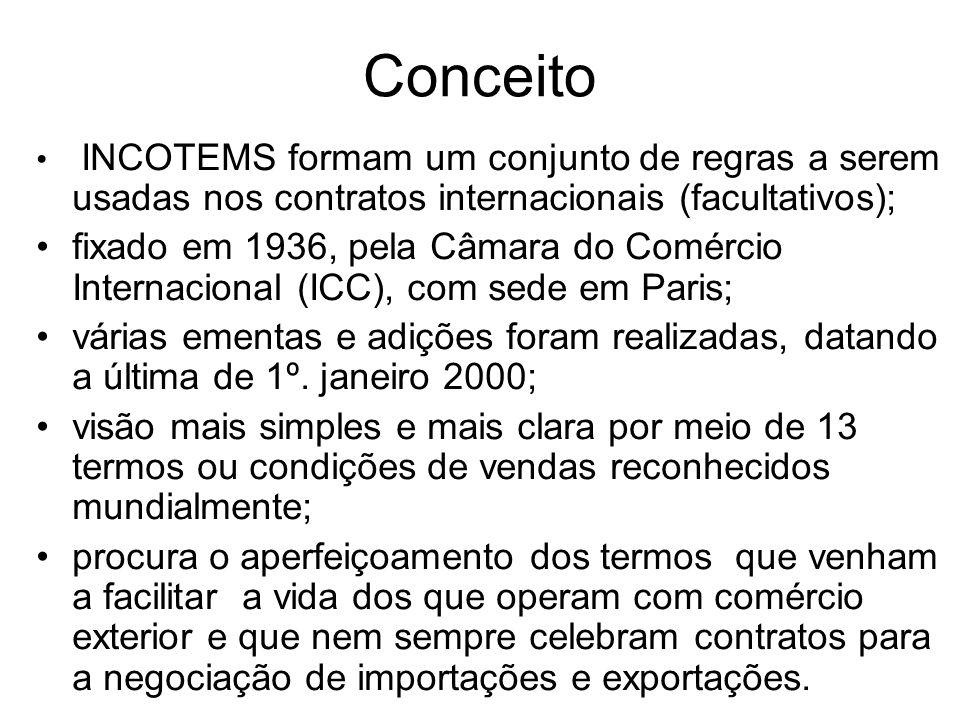 Conceito INCOTEMS formam um conjunto de regras a serem usadas nos contratos internacionais (facultativos); fixado em 1936, pela Câmara do Comércio Int