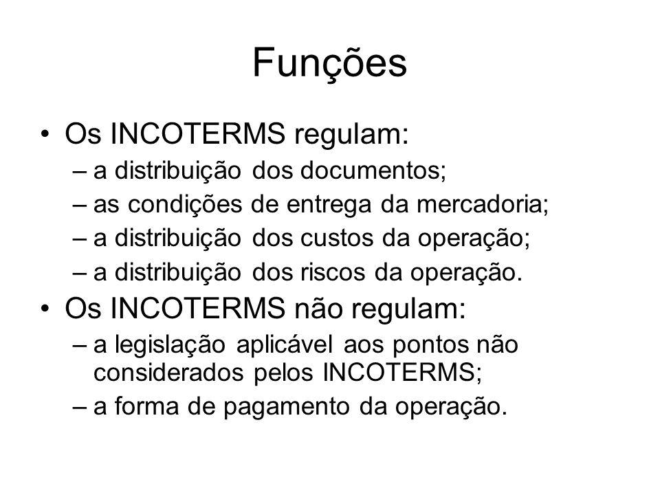 Funções Os INCOTERMS regulam: –a distribuição dos documentos; –as condições de entrega da mercadoria; –a distribuição dos custos da operação; –a distribuição dos riscos da operação.