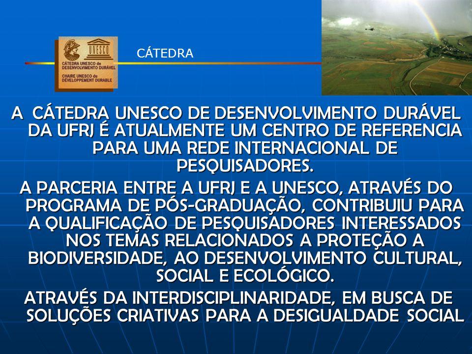 A CÁTEDRA UNESCO DE DESENVOLVIMENTO DURÁVEL DA UFRJ É ATUALMENTE UM CENTRO DE REFERENCIA PARA UMA REDE INTERNACIONAL DE PESQUISADORES. A PARCERIA ENTR