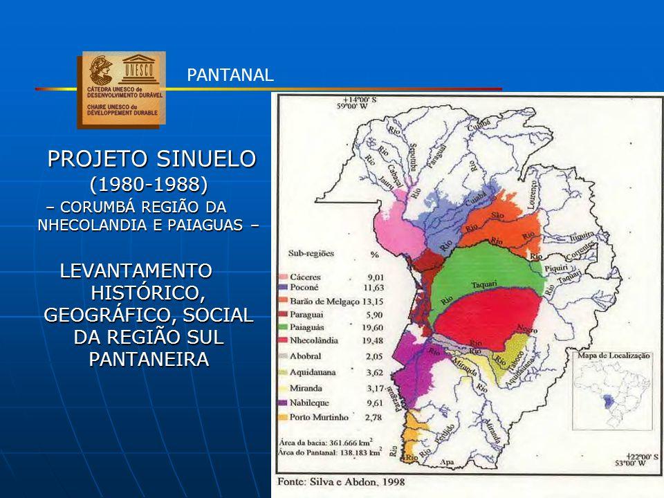 PROJETO SINUELO (1980-1988) PROJETO SINUELO (1980-1988) – CORUMBÁ REGIÃO DA NHECOLANDIA E PAIAGUAS – LEVANTAMENTO HISTÓRICO, GEOGRÁFICO, SOCIAL DA REG