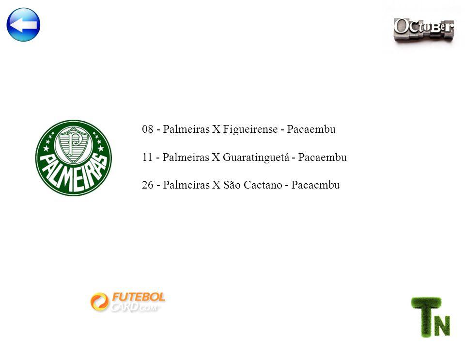 08 - Palmeiras X Figueirense - Pacaembu 11 - Palmeiras X Guaratinguetá - Pacaembu 26 - Palmeiras X São Caetano - Pacaembu