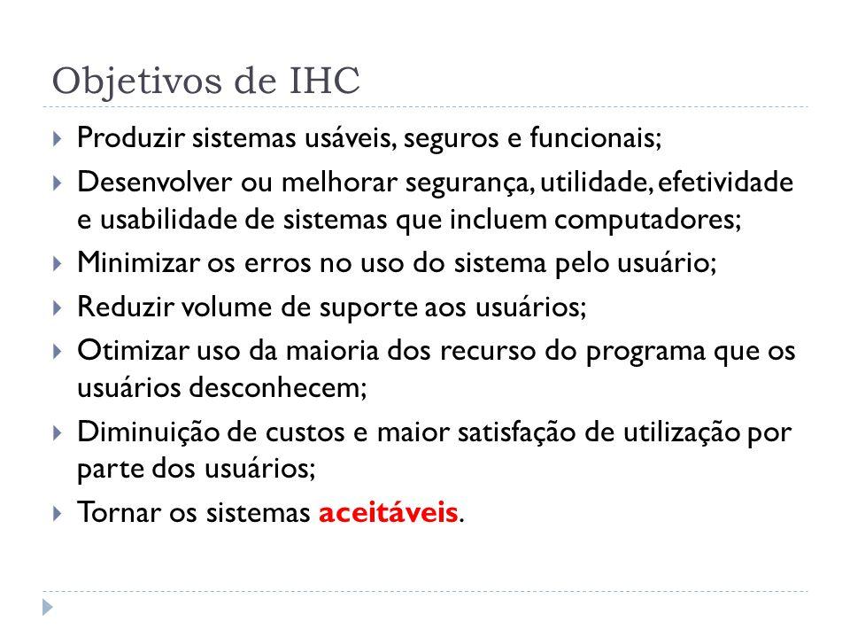 Objetivos de IHC Produzir sistemas usáveis, seguros e funcionais; Desenvolver ou melhorar segurança, utilidade, efetividade e usabilidade de sistemas