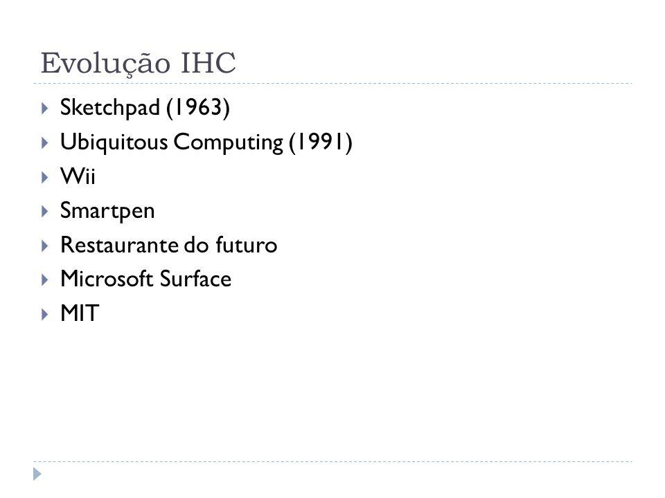 Sketchpad (1963) Ubiquitous Computing (1991) Wii Smartpen Restaurante do futuro Microsoft Surface MIT