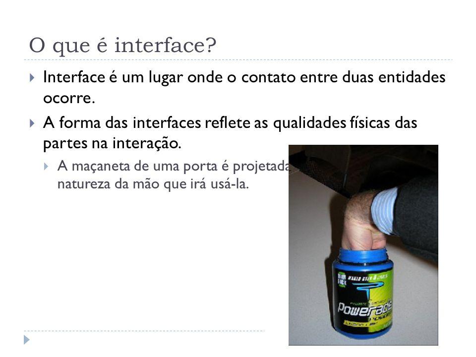 O que é interface? Interface é um lugar onde o contato entre duas entidades ocorre. A forma das interfaces reflete as qualidades físicas das partes na